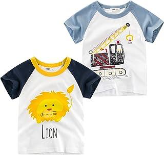 Oyoden T-Shirt Garçon à Manches Courtes Coton Enfants Bébé Été Cartoon Tee 1-7 Ans