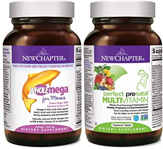 New Chapter Perfect Prenatal Vitamins, Organic Non-GMO Ingredients- for Mom & Baby - 96 ct with New Chapter Prenatal DHA -...
