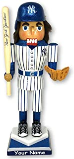 Personalized NY New York Yankees Major League Baseball Officially Licensed Nutcracker Holiday Decoration with Custom Name