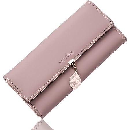 Roulens Geldbörse Damen - RFID Blocking Große Kapazität Damen Geldbeutel - Portemonnaie Damen 100% PU Leder - Elegant Damen Portemonnaie mit 9 Kartenfächern und 1 ID Fenster