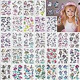 Tatuajes Temporales Niños 30 Hojas Pegatinas de Tatuajes Niñas 289 Encantador Diseños de Unicornios y Sirenas Stickers para Fake Tatoos Infantiles