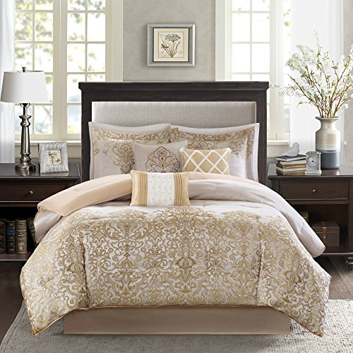 Madison Park MP10-1430 Vanessa 7 Piece Comforter Set, Gold