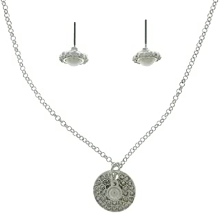 June Birthday Necklace/Earrings Set Silver Tone Message Card