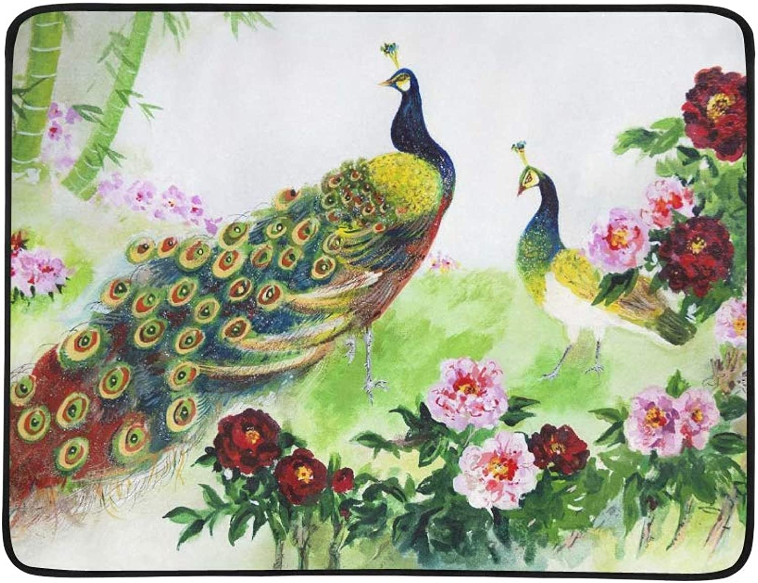 A Pair of Peacocks On A Cherry Tree Branch Pattern Portable and Foldable Blanket Mat 60x78 Inch Handy Mat for Camping Picnic Beach Indoor Outdoor Travel