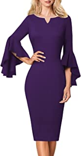 VFSHOW Womens Notch V Neck Ruffle Bell Sleeve Cocktail Party Bodycon Pencil Dres