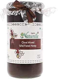 Farm Naturelle-Real Clove Infused 100% Pure Raw Natural Wild Forest Honey (1 KG Glass Bottle)-Immense Medicinal Value