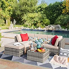 - Modern & Comfortable: Modern design outdoor sectional sofa with High-quality thickened seat and back cushions take you more extraordinary comfort, enjoy your leisure time when you sitting or lying, suitable for entertaining your neighbors or friend...