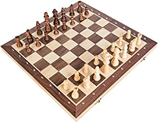 TraveT 3 in 1 Wooden Chess Set - Best Travel Portable Folding Chess Board Game - Beginner Learning Teaching Toys for Adults Teens Kids Girls Boys