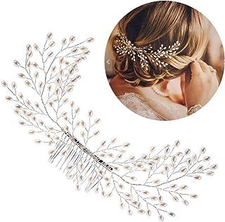 Frcolor Peine nupcial del pelo, perlas elegantes Peine del pelo de la boda Accesorios hechos a mano del pelo de la boda