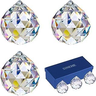 SINEHE Clear Crystal Prism Ball Rainbow Suncatchers Window Prisms Suncatcher, 40MM / 3 Pack