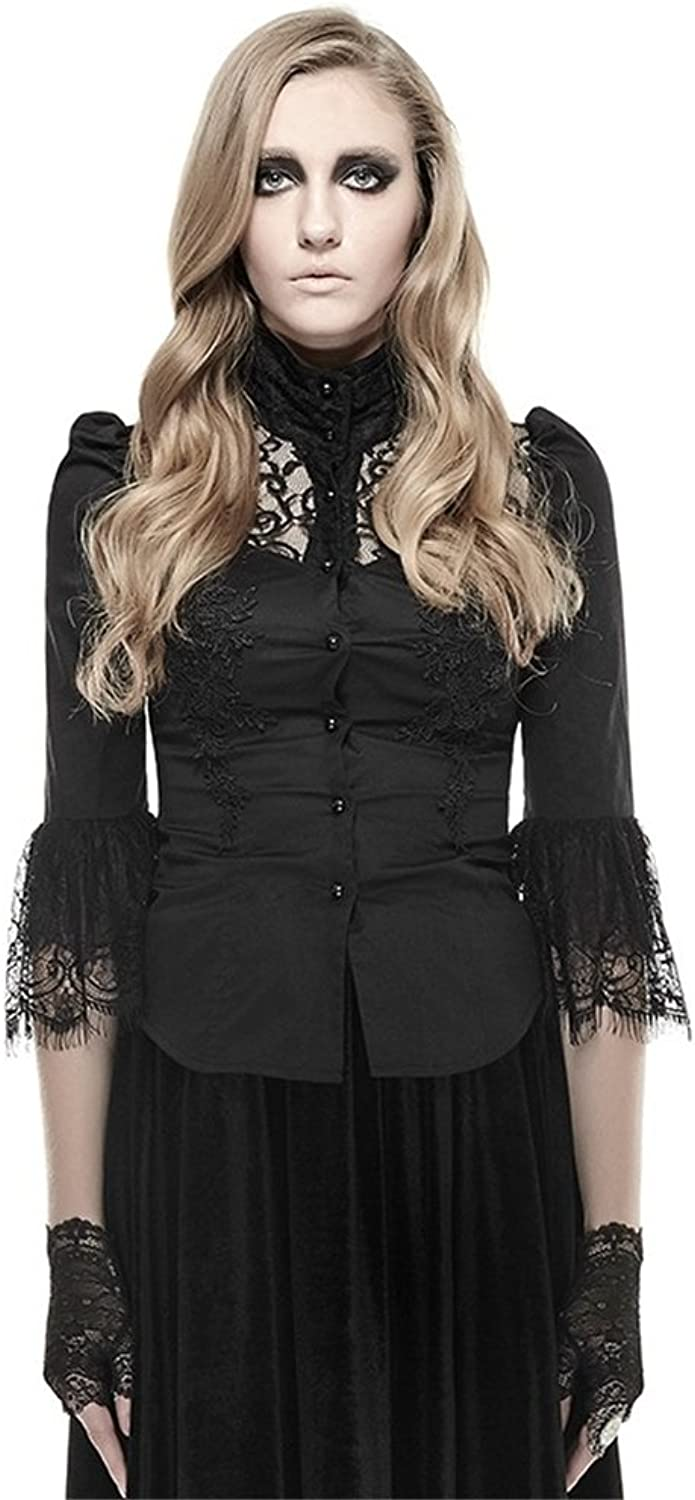 Gothic Women's High Collar Softtextile Twill Lace Tshirt