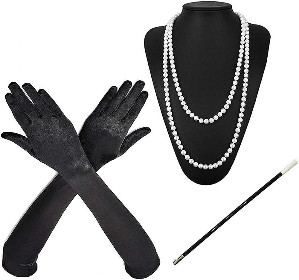 Jurxy 1920s Accessories Set Overseas parallel Max 56% OFF import regular item 3PCS Costume Pea Fancy Flapper Dress