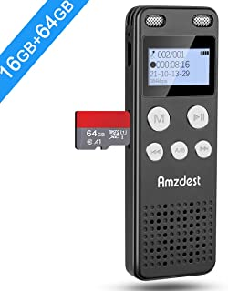Digital Voice Recorder, Amzdest 16GB Voice Recorder for Lectures, Meetings, Class, Interview, Portable Voice Activated Recorder with Playback, Rechargeable Audio Recorder Compatible with Mac/Win