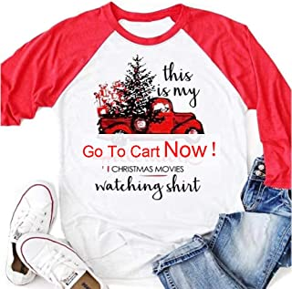 3/4 Sleeve Graphic Raglan Tees Cotton Casual Tops, This is My Christmas Movie Watching Shirts for Women Girls