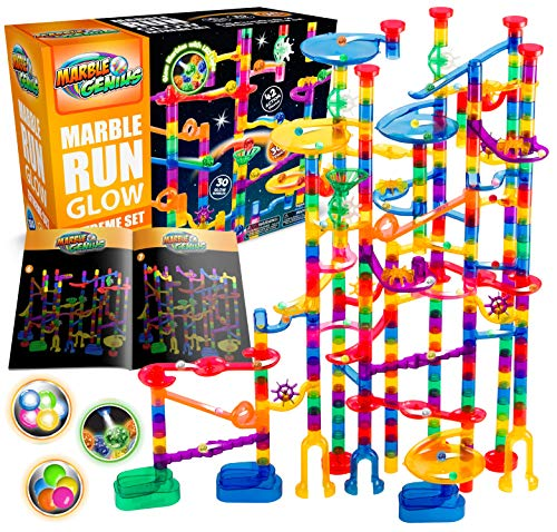 Marble Genius Glow Marble Run Extreme Set - 300 Complete Pieces + Free Instruction App & Full Color Instruction Manual