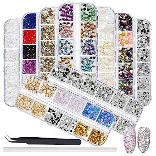 EBANKU 9 Boxen Nail Art Strasssteine - Nagel Kunst Strass mit Pinzette Strass Picking Stift für Handwerk Nagel Gesicht Kunst Kleidung Schuhe Taschen DIY