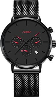 SINOBI Business Watches Men Fashion Original Design Watch Men Steel Mesh Men's Watch Clock Relogio Masculino Creative Wristwatch (S9807G-Black/Red)