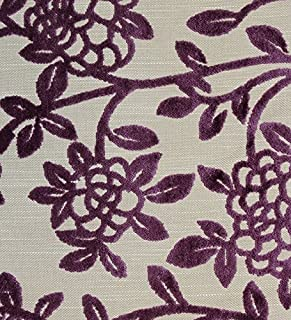 Camelot Aubergine Velvet Upholstery Botanical Fabric By the Yard 56
