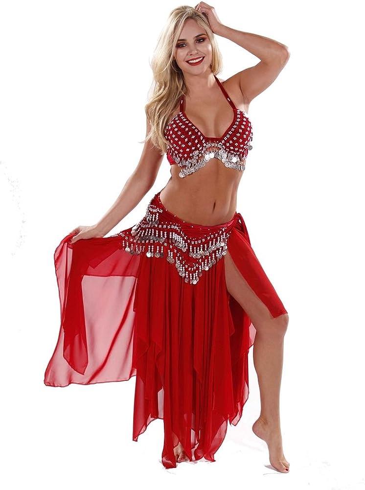Miss Belly Dance Bauchtanz samt bh rock und h/üfttuch kost/üm stammes-tribut einer tasse gesetzt f/ür damen