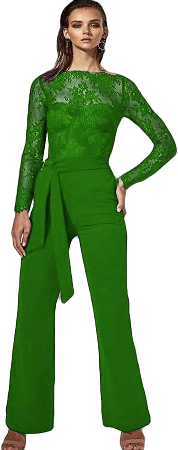 Xixi House Lace Pant Suits Long Sleeve Chiffon Mother of The Bride Dress Belt Jumpsuit Formal Wedding Guest Gowns