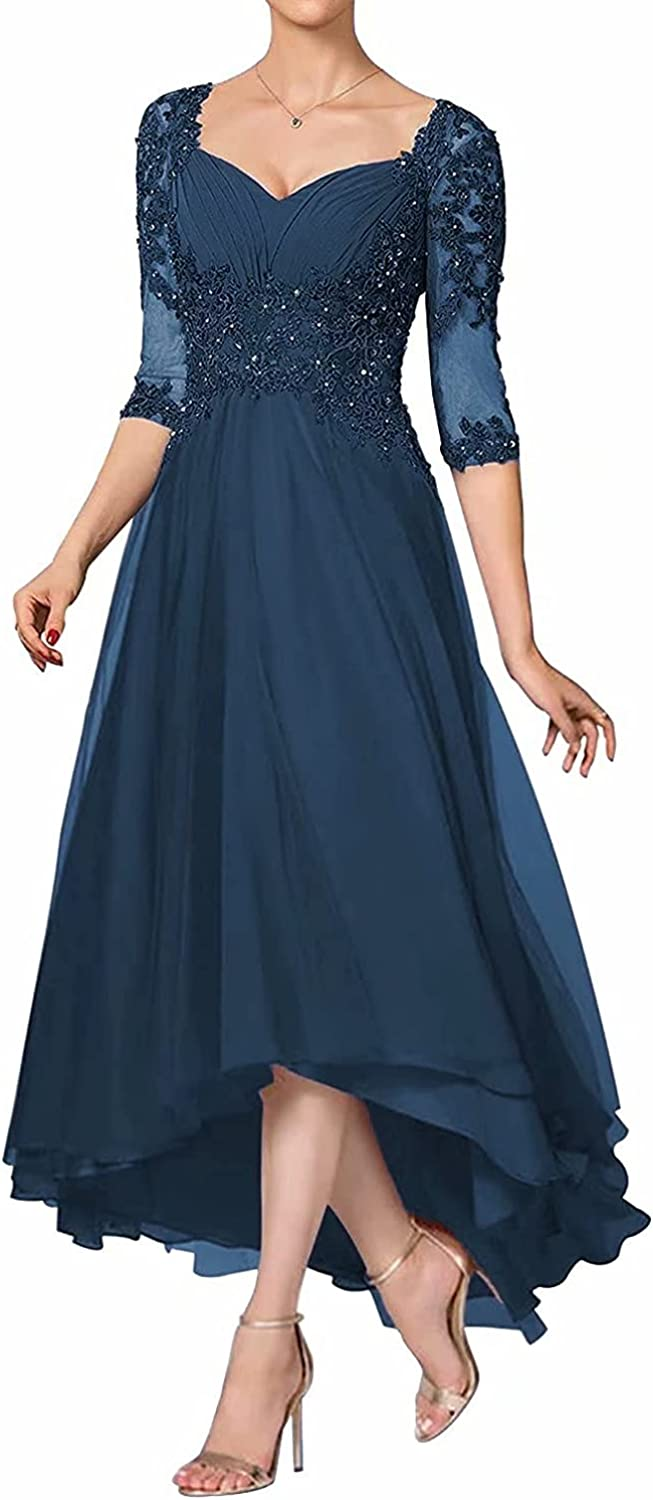 Mother of The Bride Dresses Tea Length for Wedding, Elegant Hi Low Formal Mother of The Groom Dresses with Sleeves