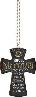 P. GRAHAM DUNN Good Morning This is God Coffee Cup Chalkboard Look Cross Wood Car Charm