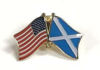 Pack of 3 Scotland Cross & US Crossed Double Flag Lapel Pins, Scottish Cross & American Friendship Pin Badge