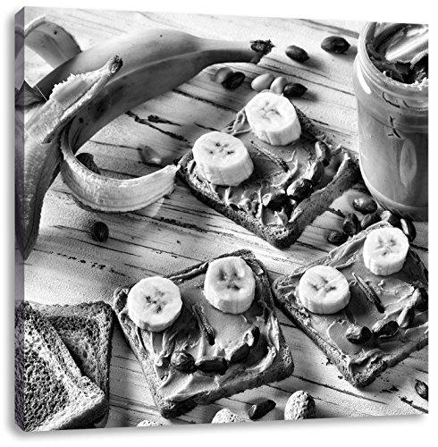 Pindakaas banaan boterhamCanvas Foto Plein   Maat: 40x40 cm   Wanddecoraties   Kunstdruk   Volledig gemonteerd