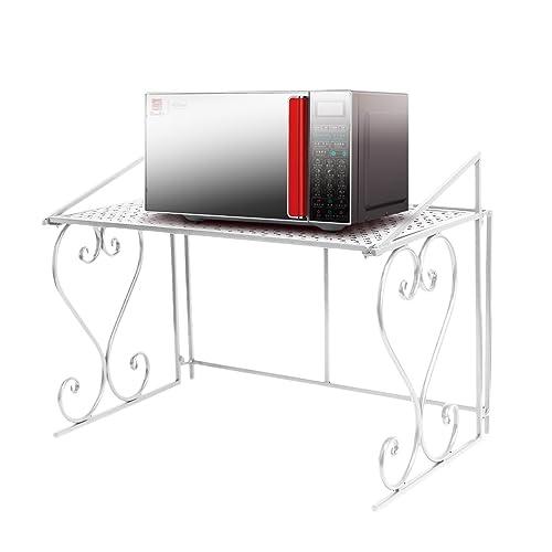 Etagère Micro-ondes en Métal Amovible Rangement Cuisine de Service Meuble (Blanc)-Dazone ®