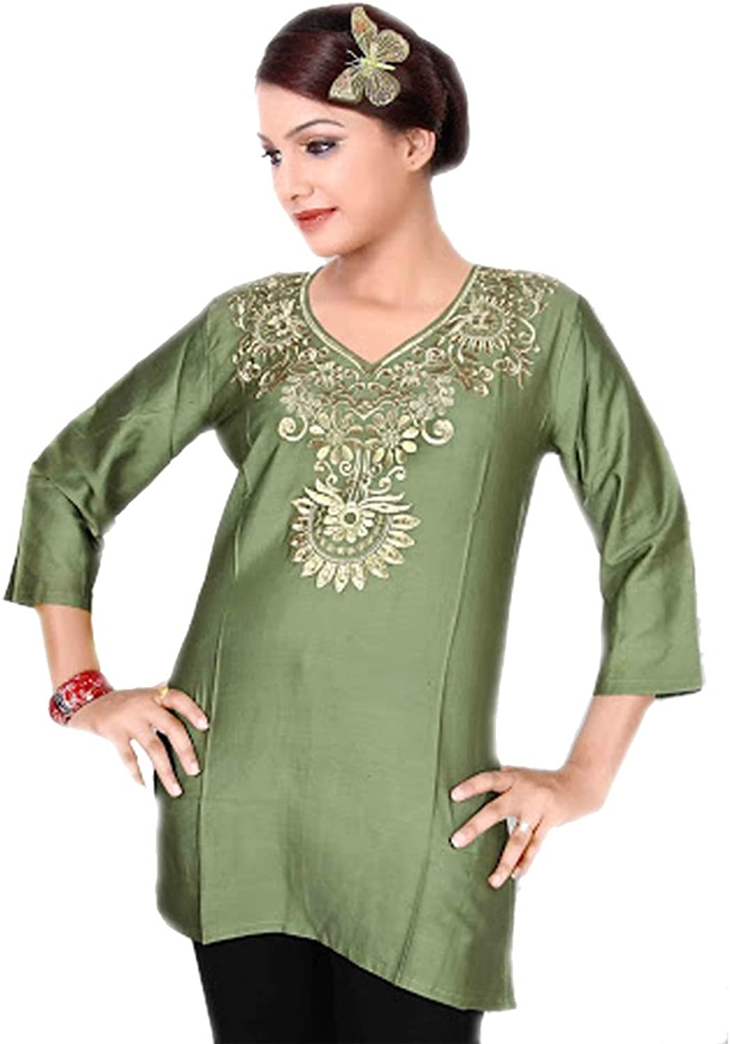 1545 Designs Women's Green Silk Tunic V Neck Embroidered Top