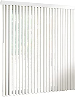 "spotblinds White-Cordless-Custom-Made, Premium PVC Vertical Blinds-Blocks Sunlight-Assembled in The US-Exact Width & Length from 67"" Wide to 94"" Long. This Listing is (82"