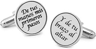 Gemelolandia   Gemelos para boda - Gemelos para Camisa De tus Manos Mis Primeros Pasos, Y de Tu Brazo al Altar Plateado 15...