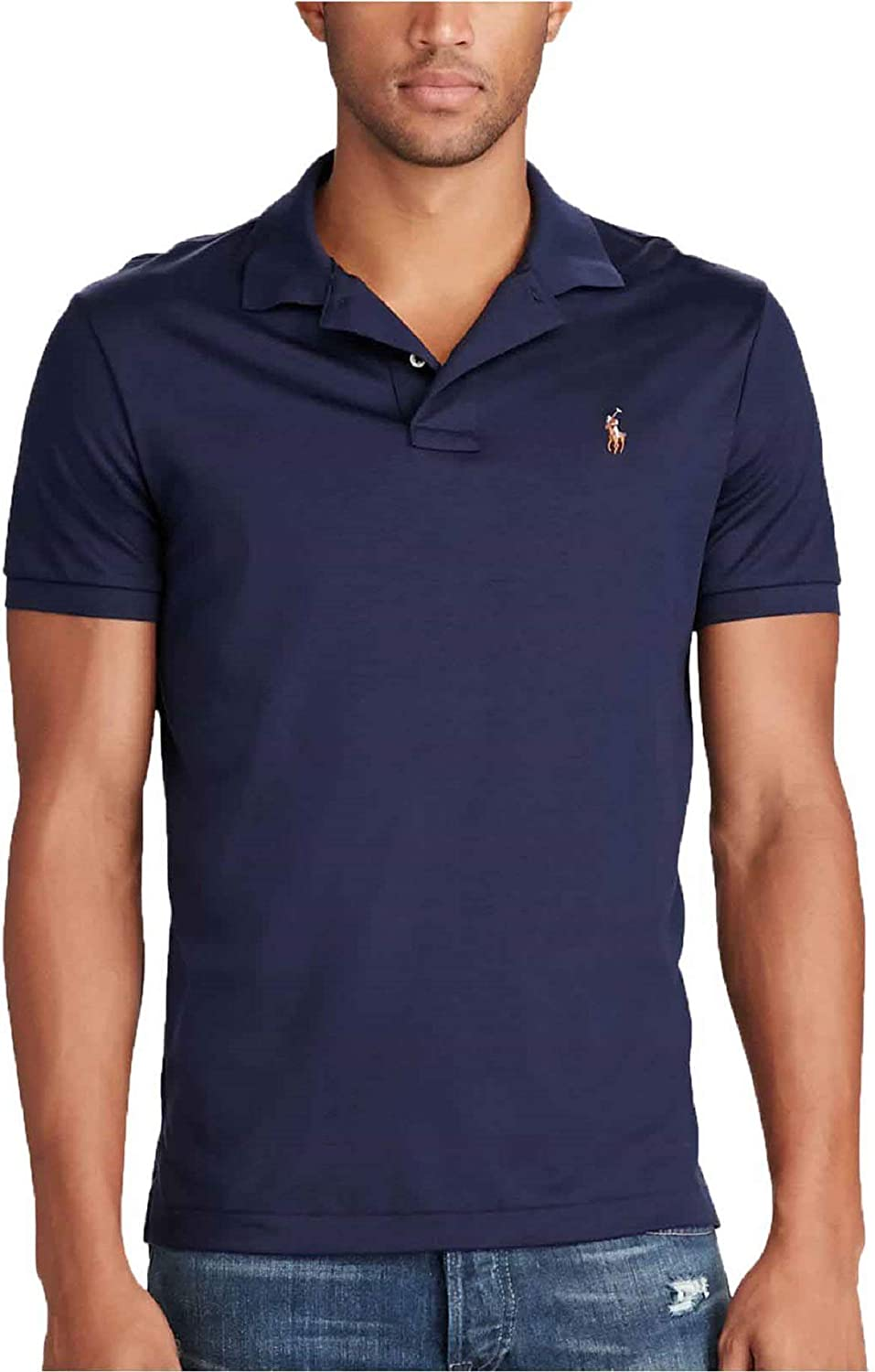 Mens Pima 100% quality Max 77% OFF warranty Soft Touch Polo Shirt X-Small French Navy