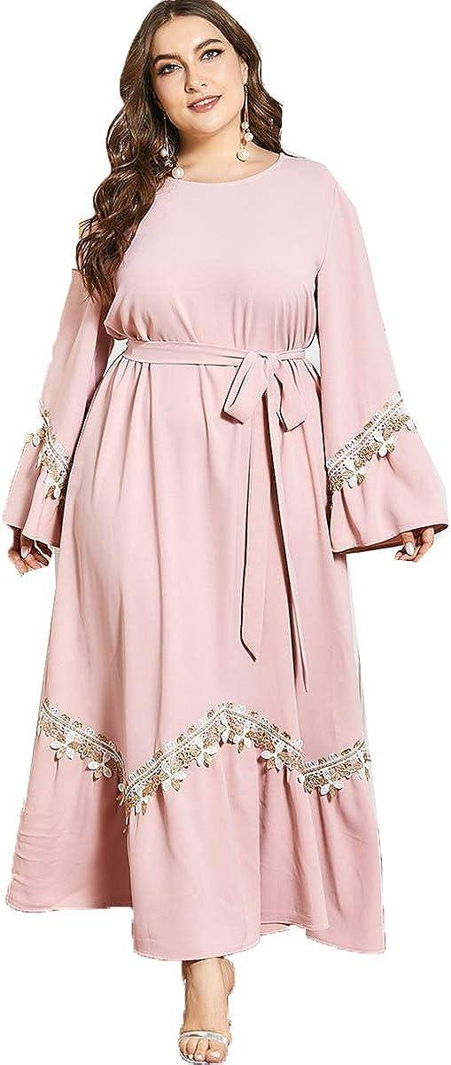 Bigfanshu 9636# Women's Large Pink Embroidery Long Sleeve Pleated Lace Lace Tie Casual Long Skirt Dress Skirt