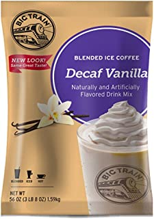 Big Train Blended Ice Coffee, Decaf Vanilla Latte, 3 Pound, Powdered Instant Coffee Drink Mix, Serve Hot or Cold, Makes Blended Frappe Drinks