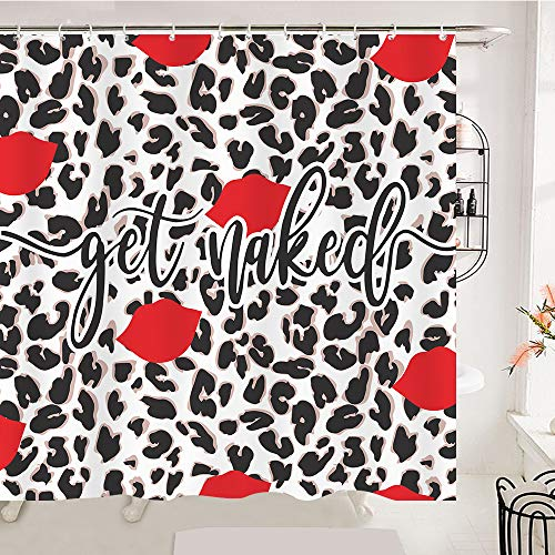 OCCIGANT Leopard Print Bathroom Shower Curtain Sexy Woman Lip Stick Bathtub Curtain Get Naked Funny Red Black White Grey Waterproof Polyester Fabric Set with Hooks