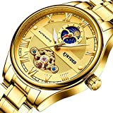 JTTM Reloj Automático De Pulsera Acero Inoxidable Impermeables Tourbillon Mecánico Regalos De Relojes para Hombres,Oro