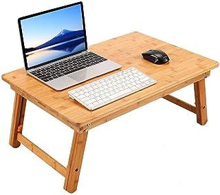 ノートパソコンデスク PCスタンド 傷付きにくい 竹製 ベッドテーブル ローテーブル 折りたたみ式 高さ調節可能 多機能 トレーテーブル ナチュラル シンプル デザイン キャンプテーブル 小型ミニテーブ ル 幅55×奥行35×高さ23~32cm