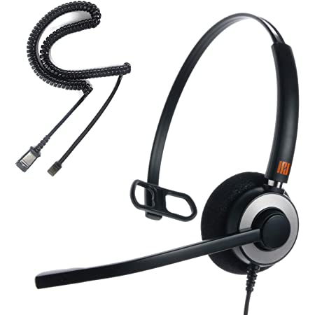 IPD IPH-160 Professional Monaural Noise Cancelling, Corded landline Phone Headset for Call Center/Office with U10P Cable Works with Avaya/Lucent, Nortel,Polycom,Samsung,Mitel and Many Other IP Phones