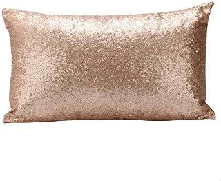 VJGOAL Moda Color Sólido Brillo Lentejuelas Sofá Cama Festival de Decoración del Hogar Funda de Almohada rectángulo Cojín 30cm * 50cm(30_x_50_cm,Oro)