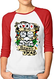 Reborn Women Poker Life Gamble Baseball Raglan Tshirt Red