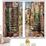 Cortinas de dormitorio italianas, antiguas casas de piedra de la calle de 122 cm de ancho x 72 cm de largo