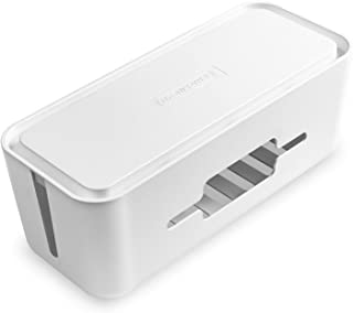 Cable Management Box with Holder, NTONPOWER Cable Tidy Box for Organize Power Strips, Hard Plastic Cable Storage Box with ...