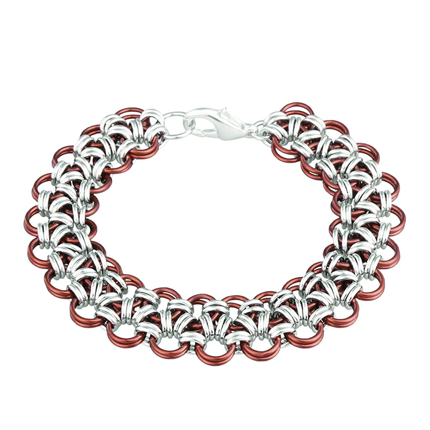 Weave Got Maille Japanese Chain Maille Bracelet Kit-Henna Lace, Silver