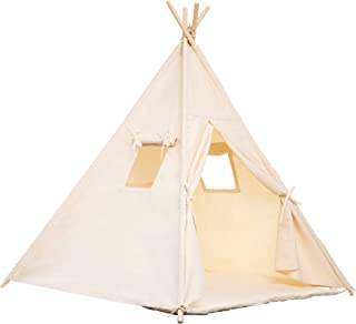 Samincom Teepee Foldable 100% Cotton Tent - Large Indoor/Outdoor Tipi for Boy Girl, with Floor Mat, Free Fun Flags Beige Color