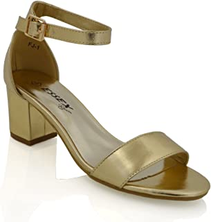 e7eda5916c Womens Low Mid Heel Block Peep Toe Ladies Ankle Strap Party Strappy Sandals  Shoes Size 3