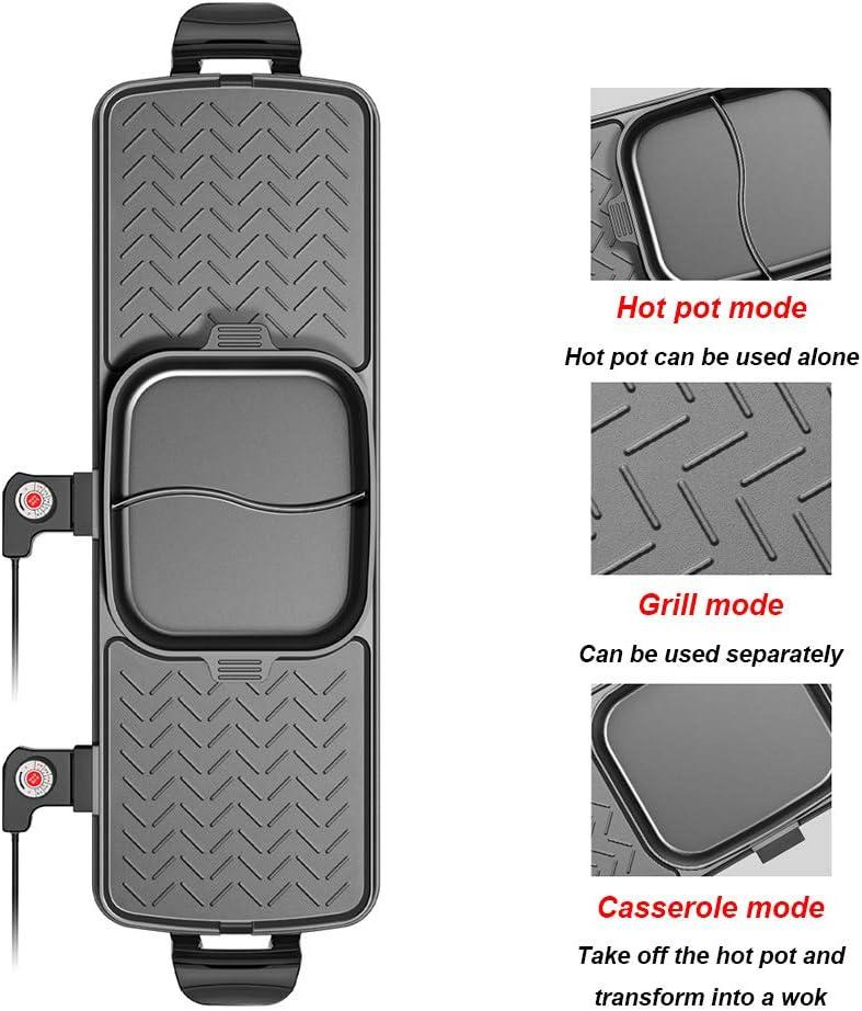 WZYJ Gril électrique à Double Usage, Pot Chaud grillé sans fumée Multifonction, Plaque de Cuisson séparable, Facile à Nettoyer, Non Collante, pour Barbecue,Small Large