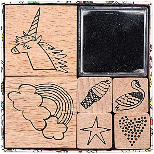 Rico Design Paper Poetry Stempelset Magical Summer - Holzstempel mit Stempelkissen zum Basteln für Kinder - 6 Motive - Stempel aus Holz DIY