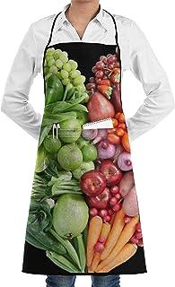 N\A Delantal de Cocina Chef Babero Frutas y Verduras Cuello Cintura Corbata Centro Canguro Bolsillo Impermeable
