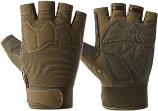 ABOOFAN 1 Pair Nonskid Half Finger Gloves Cycling Gloves Fitness Gym Road Bike Gloves for Men (Paratrooper, Green)